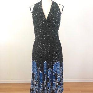 Evan Picone Polka Dot Floral Halter Top Dress